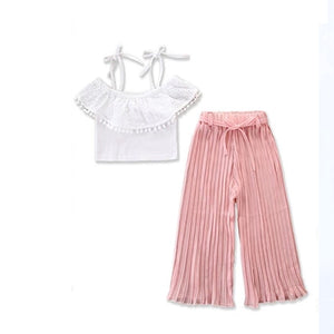 Bear Leader Girls Clothing Set 2019 Girls New White Sling Top + Pink Wide Stripe Pants 2pcs Set Girls Clothes Suit Kids clothes