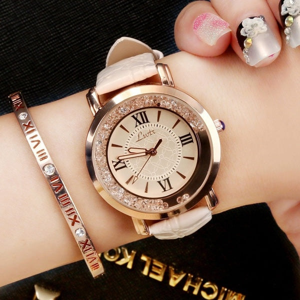 Women Fashion Luxury Leisure Set Auger Leather Stainless Steel Quartz Watch
