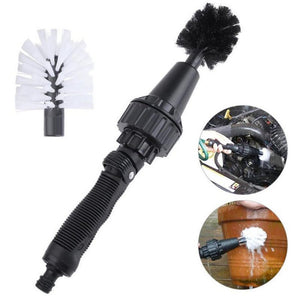 New Water Driven Rotary Cleaning Brush Washer Hand-held Design Water Spray Brush Including Accessories 2 Brush Heads