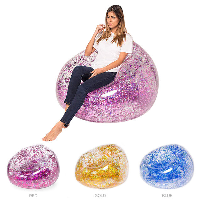 Fast Inflatable Lazy Bag Air Sleeping Bag Outdoor Camping Portable Air Banana Beach Bed Rose Gold Glitter Inflatable Chair Sofa