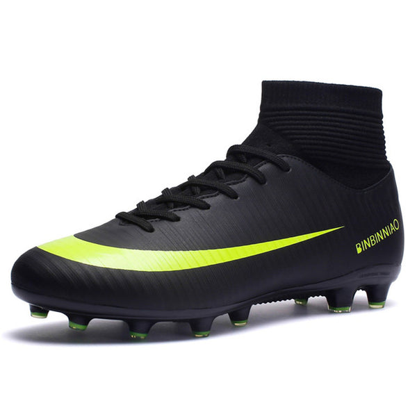 Turf Indoor Men Soccer Shoes Kids Cleats Training Football Boots High Ankle Sport Sneakers Long Spike Sport Shoes Men Sneakers