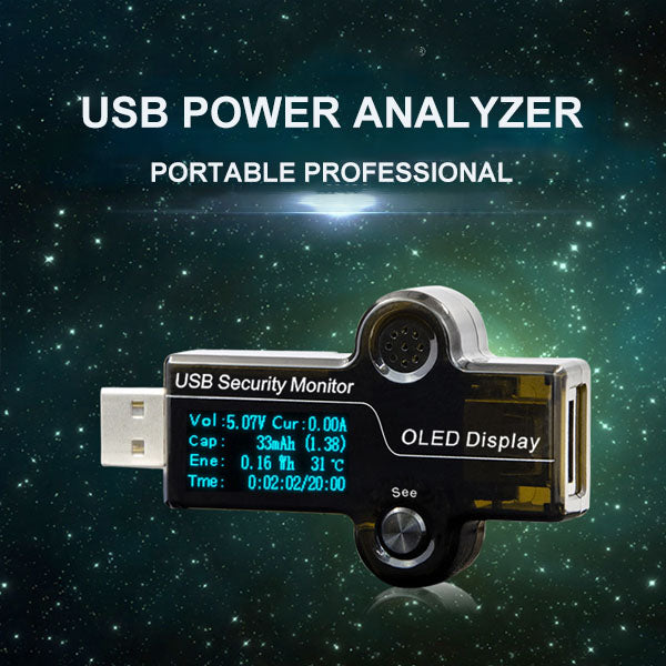 Portable Professional USB Power Analyzer with OLED Display - Test Everything Related to Power