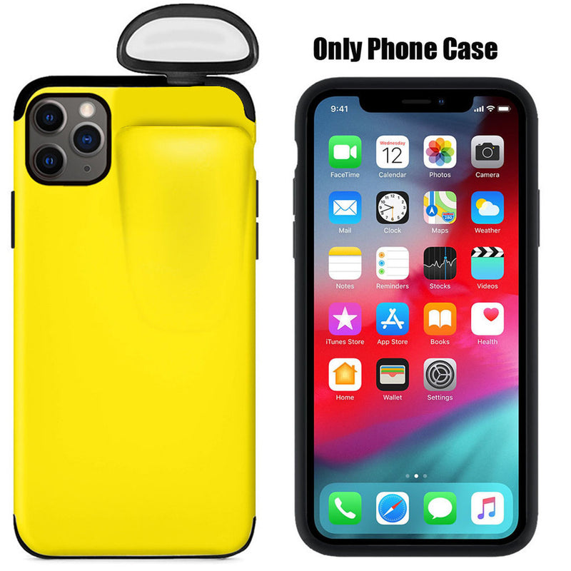 Newest 2 in 1 Silicone Phone Case for iPhone6 7 8 11 XS Max with Airpods Box Soft Back Cover Cases