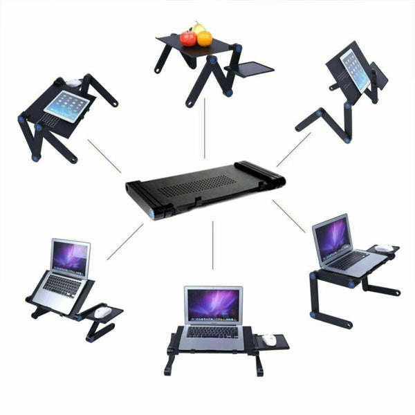 Laptop Table Stand With Adjustable Folding Ergonomic Design With Mouse Pad