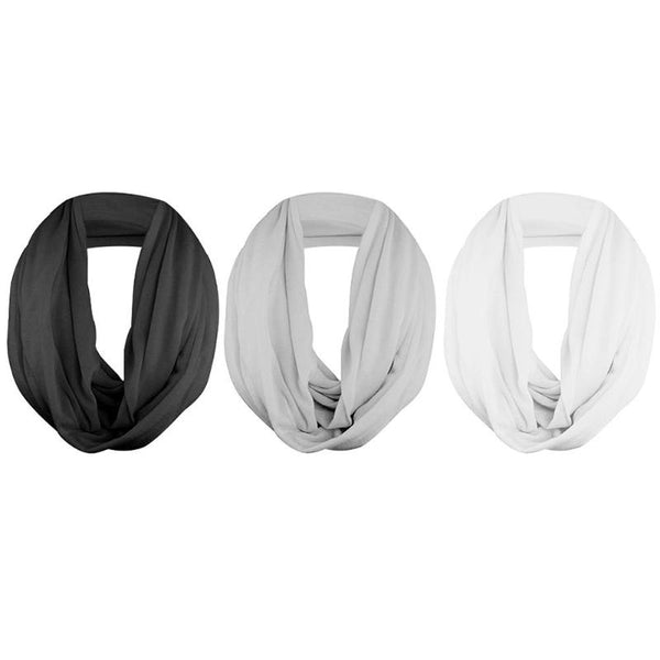 New Fashion Vintage Travel Winter Unisex Solid Color Warm Loop Scarf with Zipper Storage Pocket