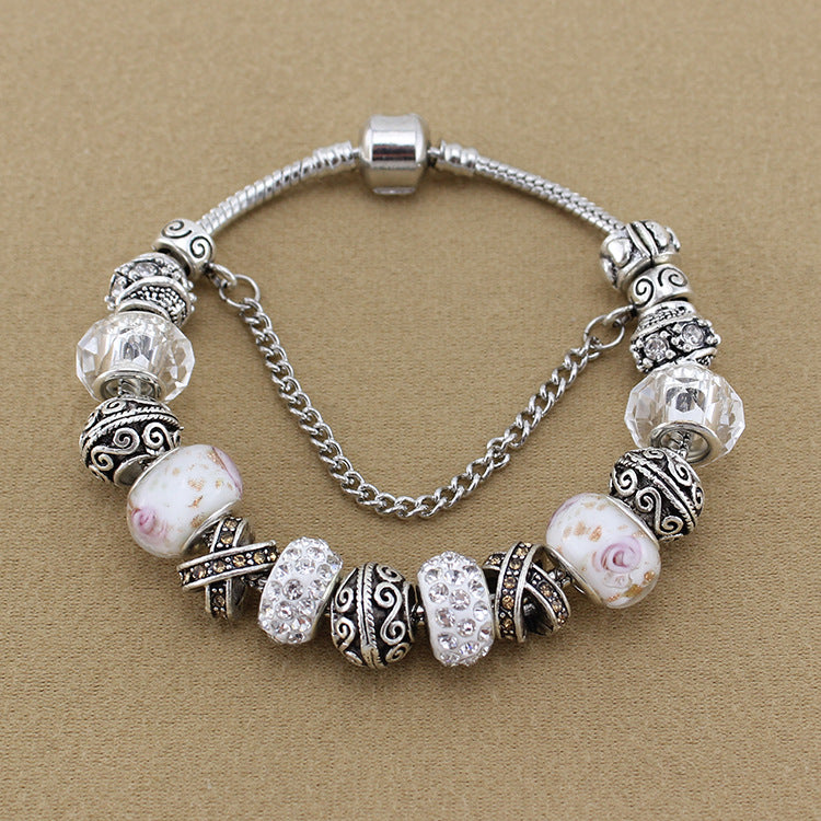 High quality hot sale multi-color crystal glass DIY beaded bracelet