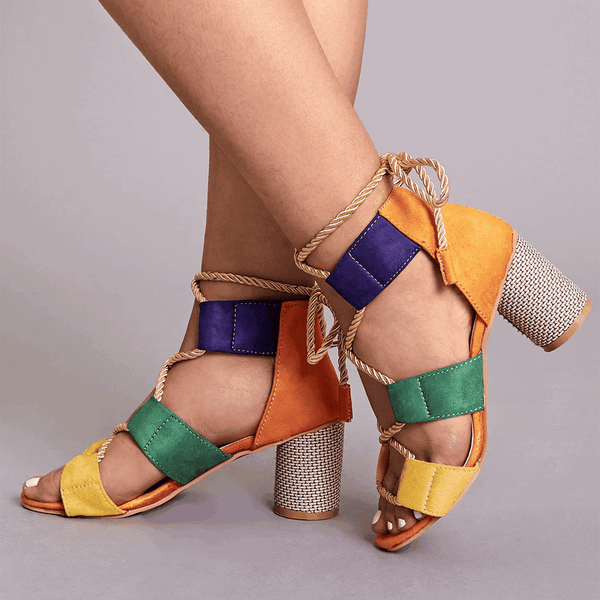 Color Block Lace-Up Back Chunky Heels