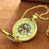 Pocket Watches Men Gold Chain Mechanical Hand Wind Pendant Watch Male Skeleton Clocks Necklace Watches