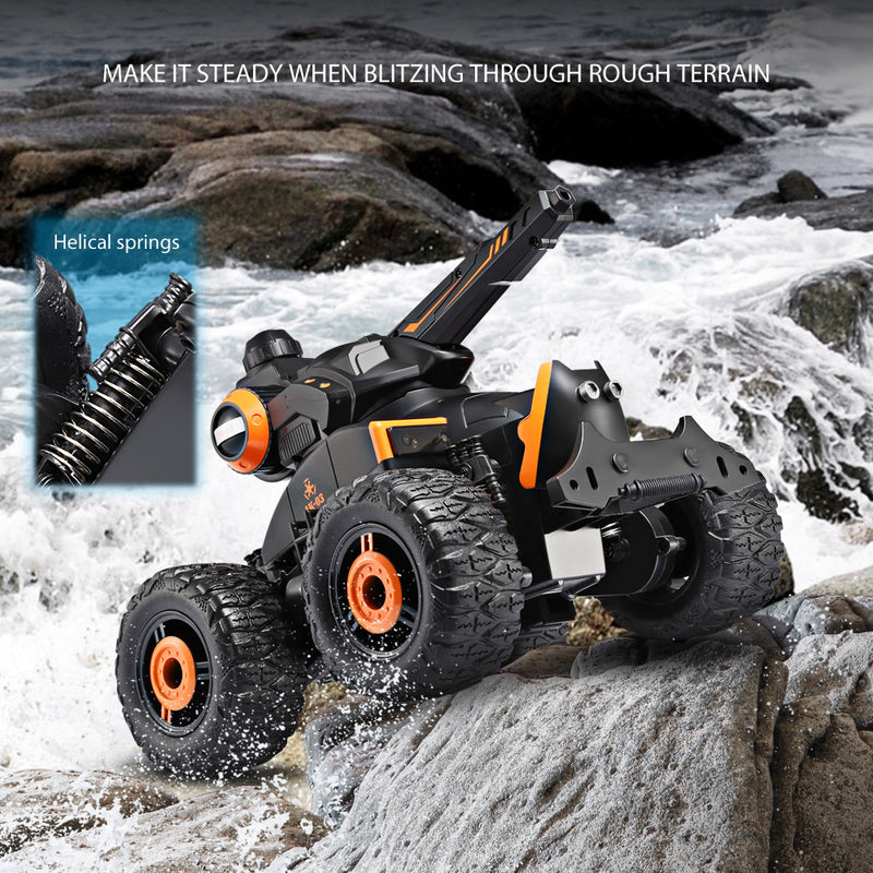 Water Jet RC Car 4 Wheels Off-Road Stunt Driving on Water and Earth Amphibious Electric Car Toy