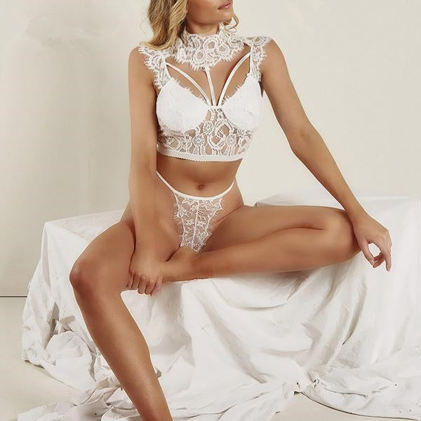 Sexy lace openwork high neck full cup underwear