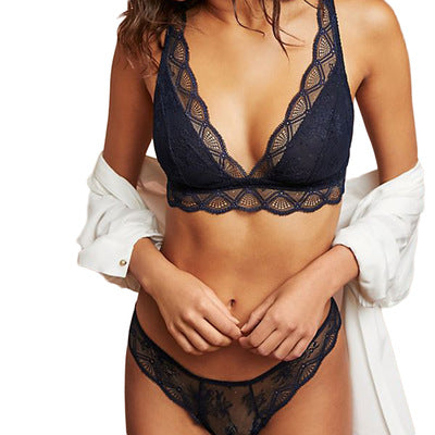 Dark blue V-neck lace eyelash hem strap adjustable underwear