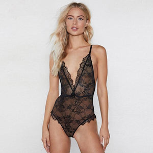 Deep V lace trim light and breathable jumpsuit