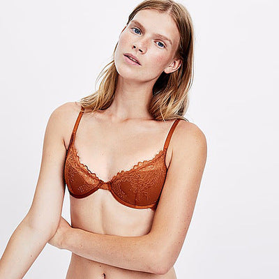 Sexy lace adjustable shoulder strap half cup bra