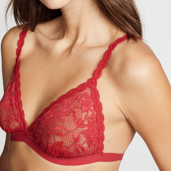 Lace Red V-neck Adjustable Shoulder Strap Casual Bra