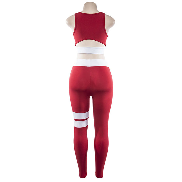 Women Tracksuit Solid Yoga Set Patchwork Running Fitness Jogging T-shirt Leggings Sports Suit Gym Sportswear Workout Clothes