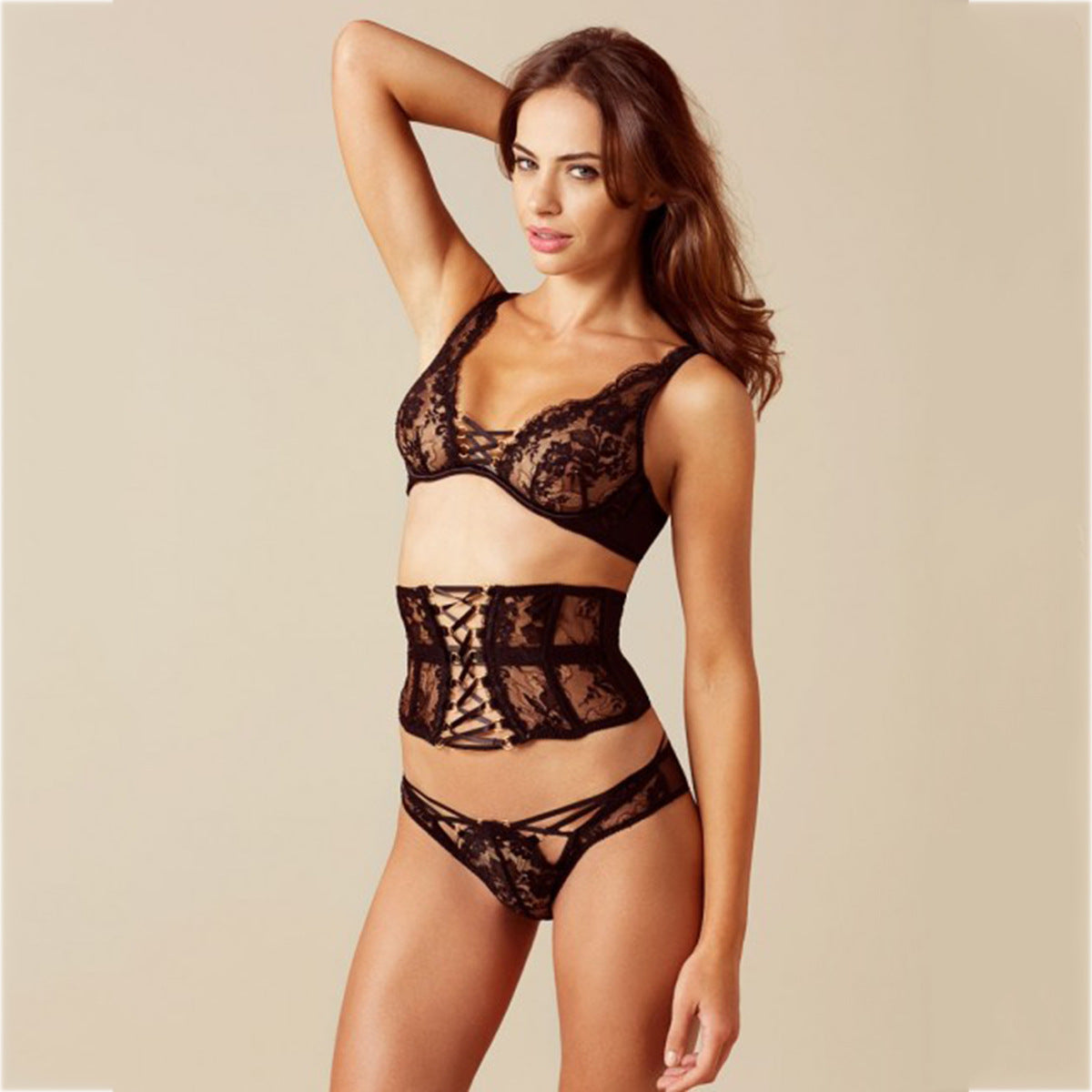 Sexy lace cross strap full cup exquisite underwear