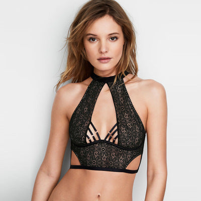 Solid color lace sexy hollow hanging neck light strap underwear