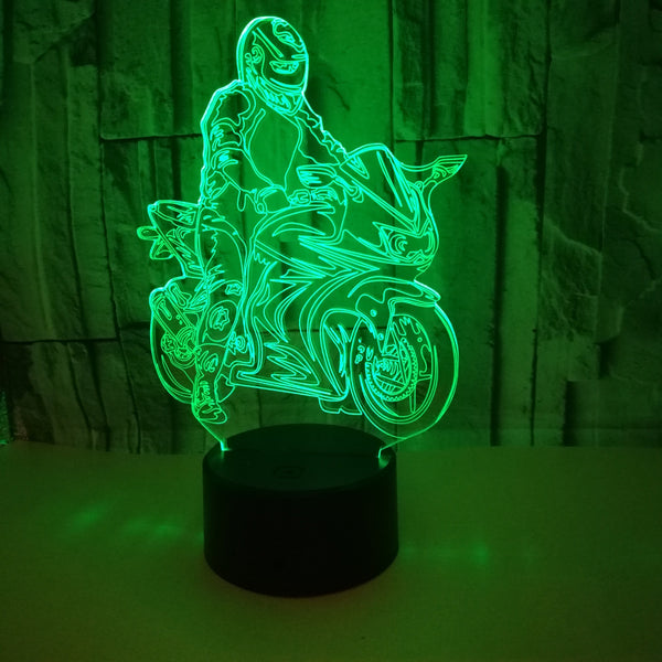 Motorcycle 3D stereo light LED decorative personality table lamp bedside bedroom 3D night light