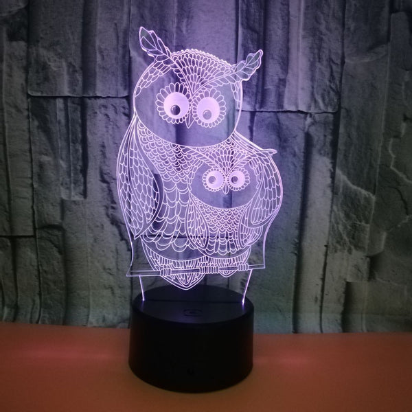 New Owl 3D Lights Colorful Remote Touch
