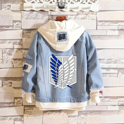 【40% off 】Denim Jacket Attack on Titan Fairy Tail  Luffy Sword Art Online Anime Jacket