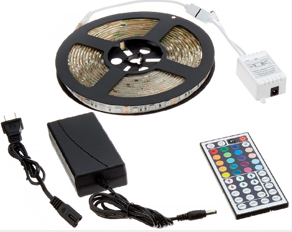 LED Strip Light RGB 5050 Flexible Ribbon fita led light strip RGB 5M Tape Diode DC 12V+ 44 Key Remote Control +Adapter