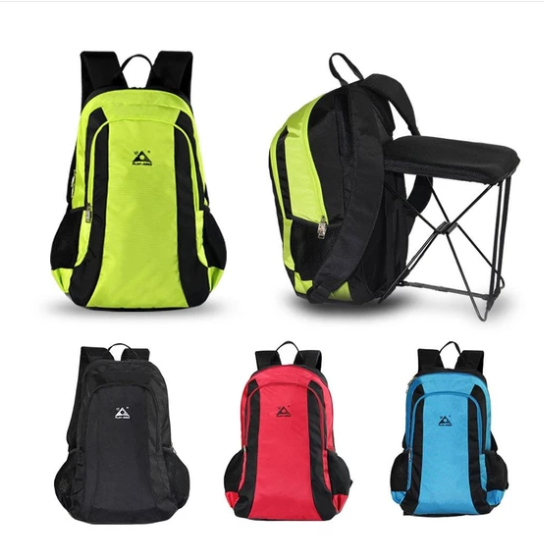 New solid color casual bag 47L large capacity outdoor mountaineering hiking folding seat backpack fashion travel backpack