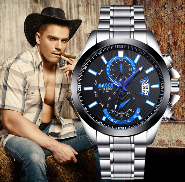 【BUY 1 GET 1 FREE】BOSCK Casual Business Watch Men Stainless Steel Water Resistant Quartz Clock Auto Day Date Watches Montre Homme