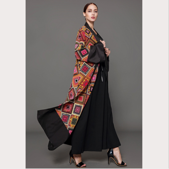 New fashion robe print retro contrast color cardigan Muslim Abaya cardigan