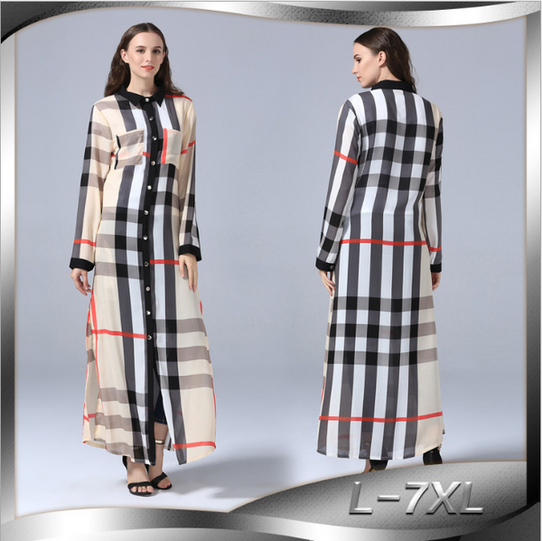 New fashion long-sleeved large size women's slim plaid full button cardigan dress