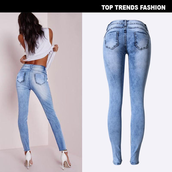 Popular Slim Ppencil Pants Stretch Denim Hole Ffeet Pants Multi-hole Patch Tide