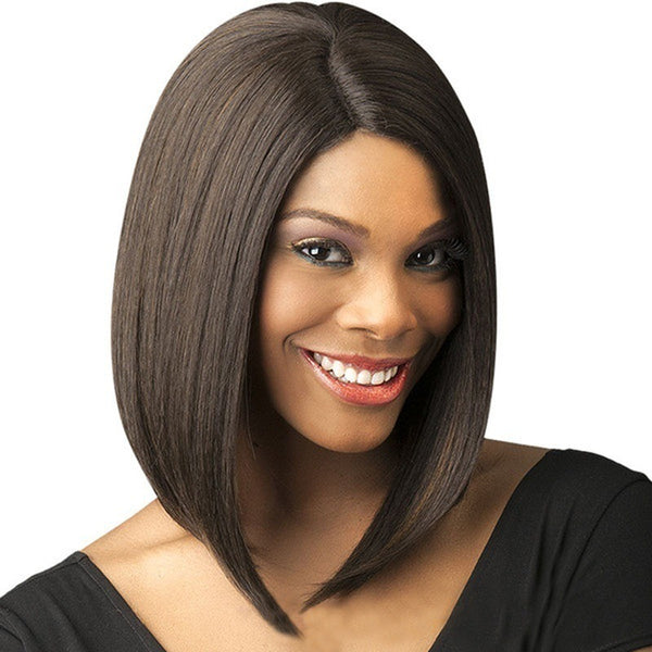 Fashion Ladies Wig Black Short Straight Hair Split Bobo Wave Head Wigs Chemical Fiber Hairpin Buckle Subnet
