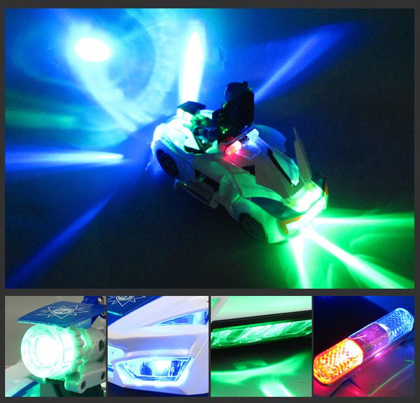 Electric deformation car with light music 360 degree rotating toy