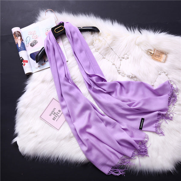 【Buy One Get Two Free】Solid Color Imitation Cashmere Scarf Female Fashion Wild Tassel Monochrome Shawl Scarf