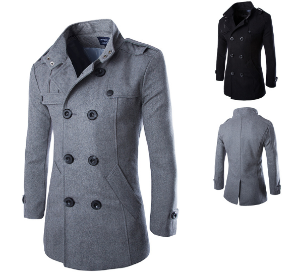 Outwear Men's Woolen Coat Fashion Business Casual Jacket Men's Youth Long Double Breasted Slim Coat Woolen Top Trench