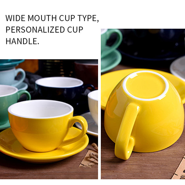 220 ml high-grade ceramic coffee cups Coffee cup set Simple European style Cap