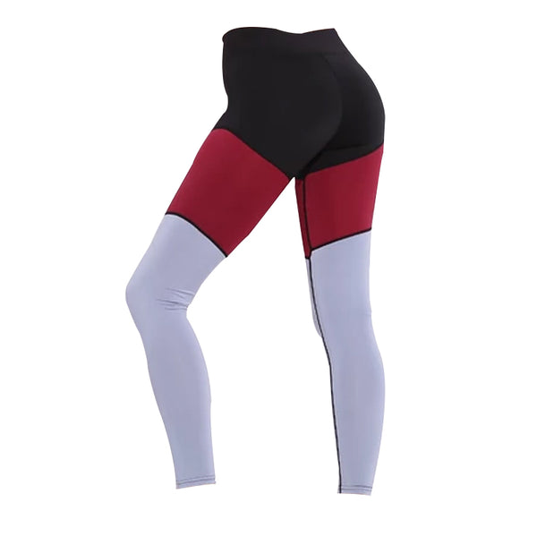 Black red stitching color matching sports leggings yoga fitness pants yoga clothes