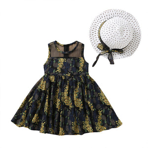 Bear Leader Girls Dress 2019 New Summer Girls Clothes Sleeveless Full Flowers Design Dress With Hat For 2-6 Years Girls Clothing