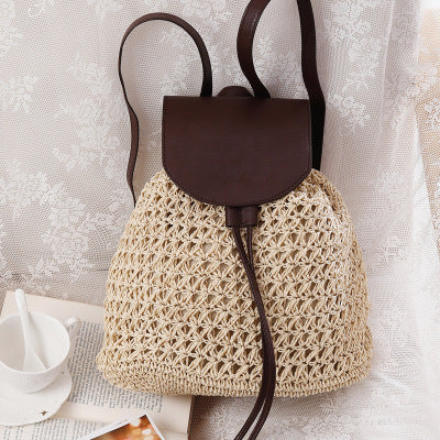 2019 New Mori female tide shoulder straw bag holiday leisure bag beach bag