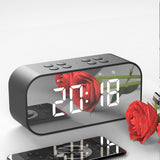 Bluetooth 5.0 Portable Wireless Bluetooth Speaker Column Subwoofer Music Sound Box LED Time Snooze Alarm Clock for Laptop Phone