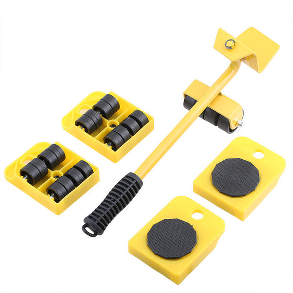 5-in-1 Furniture Lifter Mover Tool Set 1 Lifter And 4 Sliders For Moving Heavy Furniture Appliance Machine Tool