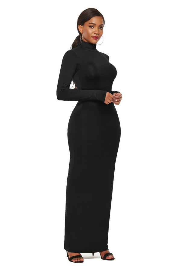 European and American fashion solid color dress long sleeve stretch slim high collar dress
