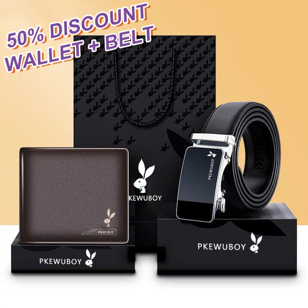 Men's Belt Wallet Gift Box Set Men's Leather Texture
