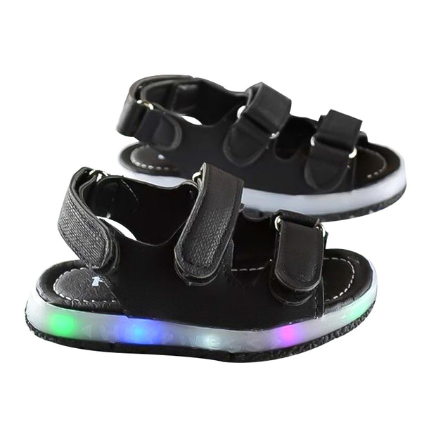 HaoChengJiaDe New Led Kids Soft Breathable Sandals Children's Luminous Lighted Shoes Boy/Girls Colorful LED lights Children Shoe