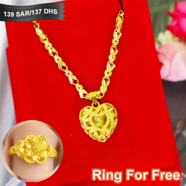 Vietnam Shakin Necklace Women's Jewelry  Long-Time Not Fading Quality Gold 24K Pendant
