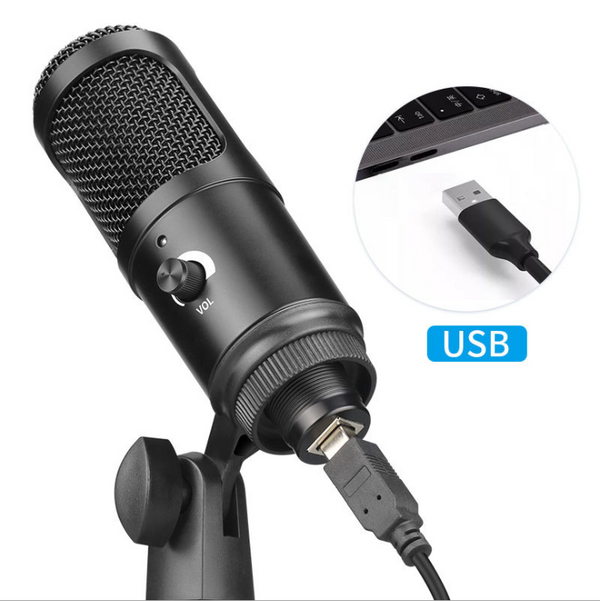 Metal USB Condenser Recording Microphone For Laptop MAC Or Windows Cardioid Studio Recording Vocals Voice Over