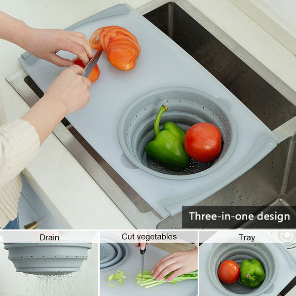 3 IN 1 Multi-function Sink Drain Basket Cutting Board Filter Chopping Blocks Meat Vegetable Fruit Basket Storage