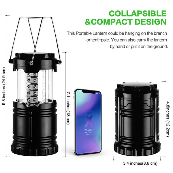 3*COB LED Portable Lantern Torch Collapsible Camping Lamp Waterproof Camping Light Powered By 3*AAA