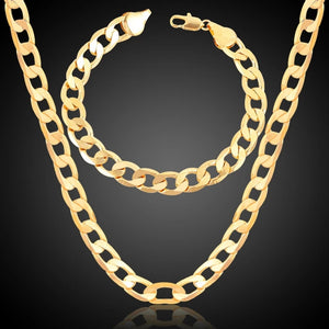 Gold Chains For Men/Women Jewelry 8MM Collier Male Gold Color 18k gold plate fashion Necklace