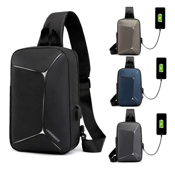 Fashion Men Business Shoulder Bags Oxford Waterproof Chest Bag Multifunction Usb External Charge Design Messenger Crossbody Bags