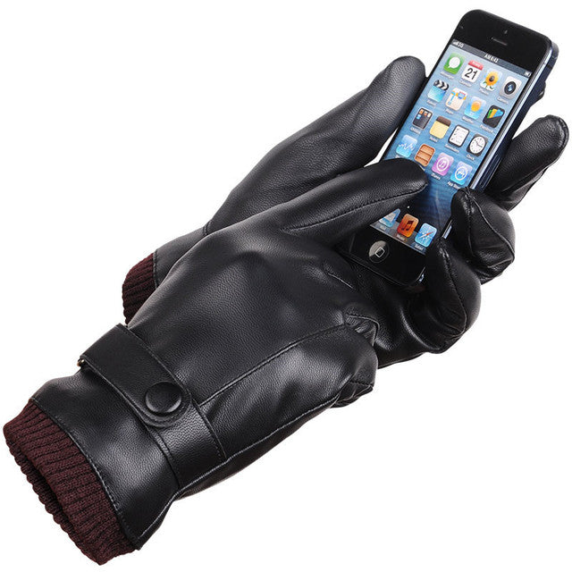 Men's touch screen gloves autumn and winter leather PU Wool Warm Couple Driving Bike High Quality